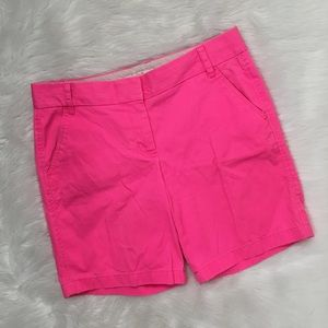 J. Crew Neon Pink Modest Long Chino Shorts